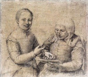 Old Woman Studying the Alphabet with a Laughing Girl by Sofonisba Anguissola